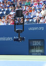 Spidercam aerial camera system used for broadcast from arthur ashe stadium at us open new york august the billie jean king Royalty Free Stock Photography