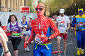 Spiderman marathon runner Stock Photo