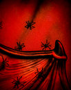 Spiders on halloween background red collar of dracula spiderweb texture scary postcard festive backdrop Royalty Free Stock Photos
