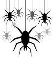 Spiders hanging on a web background with Stock Image