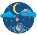 Spiders and heart under the moon funny at night with Royalty Free Stock Images