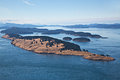 Spieden island san juan archipelago aerial view of the deserted located in the state of washington in the islands once used for Stock Image