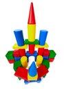 Spielzeugschloß bildete ââof Plastikblöcke Lizenzfreie Stockfotografie
