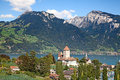 Spiez castle on lake thun jungfrau region canton bern switzerland Royalty Free Stock Photo