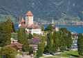 Spiez castle on lake thun jungfrau region canton bern switzerland Royalty Free Stock Photos
