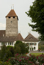 Spiez castle medieval near lake thun switzerland Stock Photos