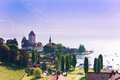 Spiez castle on thun lake panorama in switzerland view from train station Royalty Free Stock Photos