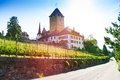 Spiez castle on thun lake in switzerland central erope Royalty Free Stock Photography
