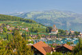 Spiez in a september day under the blue sky Royalty Free Stock Photo