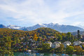 Spiez village on the lake thun switzerland Stock Photo