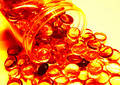 Spill objects - bright and clear reddish orange Royalty Free Stock Photo