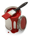 Spilled paint can red with brush isolated on white background Stock Image