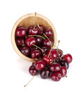 Spilled ripe cherries Stock Image