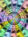 Spin of colored dollars Royalty Free Stock Images