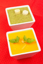 Spinach and carrots puree Royalty Free Stock Images