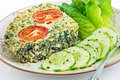 Spinach and feta cheese quiche Royalty Free Stock Image