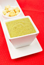 Spinach puree and bread croutons Royalty Free Stock Photo