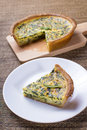Spinach quiche portion delicious and smaller served Royalty Free Stock Photography