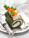 Spinach rol roll with cream cheese and caviar selective focus Stock Images
