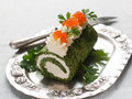 Spinach rol roll with cream cheese and caviar selective focus Royalty Free Stock Image
