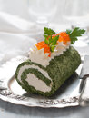 Spinach rol roll with cream cheese and caviar selective focus Royalty Free Stock Photography