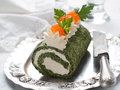 Spinach rol roll with cream cheese and caviar selective focus Stock Photography