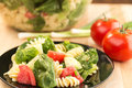 Spinach and rotini pasta salad Royalty Free Stock Photo