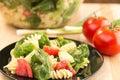 Spinach and rotini pasta salad Royalty Free Stock Photo