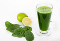 Spinach smoothie with lime juice Royalty Free Stock Photo