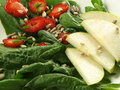 Spinach, strawberry, pear Royalty Free Stock Photo