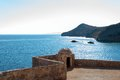 Spinalonga fortress old island defensive tower crete greece Royalty Free Stock Photography