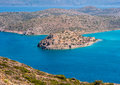 Spinalonga island crete greece aerial view of the of from the hills above plaka Royalty Free Stock Photography