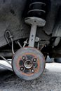 Spindle rear of car in maintenance process Stock Image