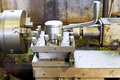 Spindles of metalworking lathe machine in turnery Stock Photo