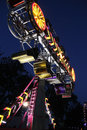 Spinning carnival ride a at night Stock Photography
