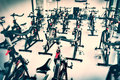 Spinning class with empty bikes Royalty Free Stock Photo
