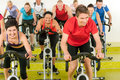 Spinning class sport people exercise at gym Stock Photography