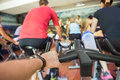 Spinning class sport people exercise at gym Royalty Free Stock Photo