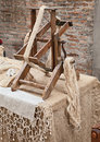 Spinning hemp fiber old winder machine with hank of antique tool for making fabric Stock Photography