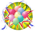 A spinning wheel with balloons and confetti illustration of on white background Stock Photography