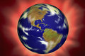 Spinning world globe on red background Stock Photos