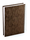 Spiral book a closed notebook with binding and brown cover on white Stock Photo