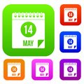 Spiral calendar page 14th of May set color collection Royalty Free Stock Photo