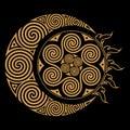 Spiral Celtic Moon and Celtc Sun