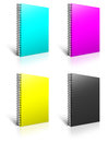 Spiral CMYK binder. Royalty Free Stock Photos