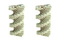 Spiral of dollar bills d rendering with and without dof effect Stock Images