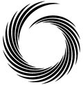 Spiral element. Concentric swirling shape with lines rotating in