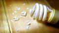 Spiral energy saving light bulbs is distribution broken Royalty Free Stock Photo