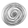 Spiral hatching grunge graphite pencil background and texture, isolated on white Royalty Free Stock Photo