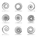Spiral movement. Design elements set. Royalty Free Stock Photo